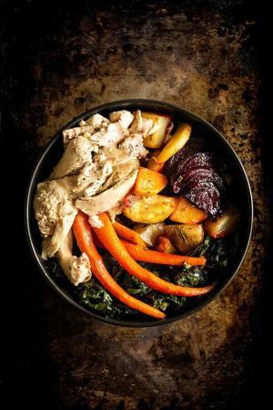 Tasty root veggies with chicken